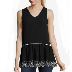 Libby Edelman Sleeveless Embroidered V-Neck Top